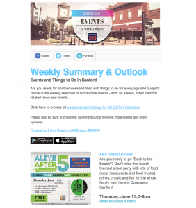 Free Weekly Sanford Events newsletter